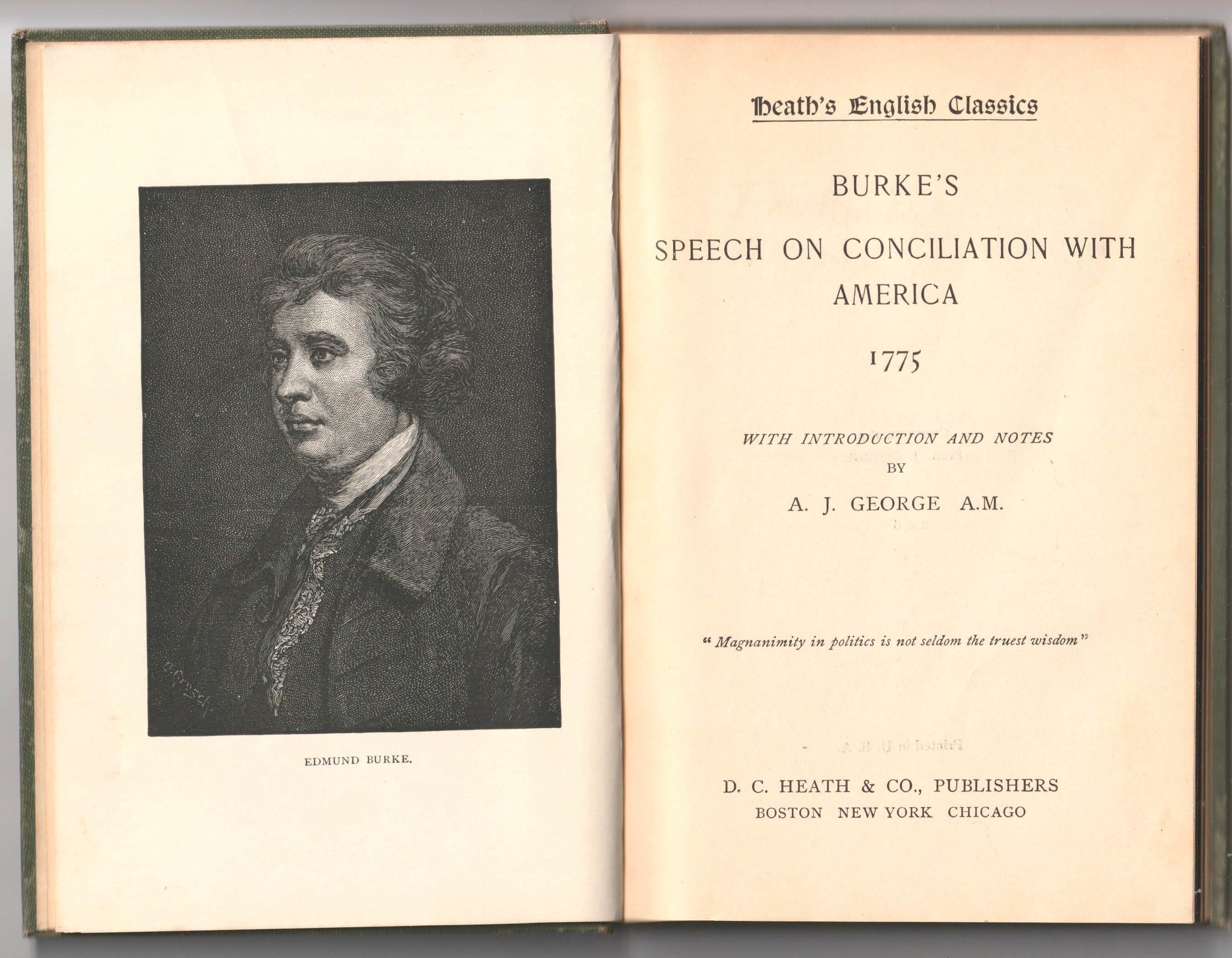 Image for Burke's Speech on Conciliation With America 1775; With Introduction and Notes by A.J. George A.M.