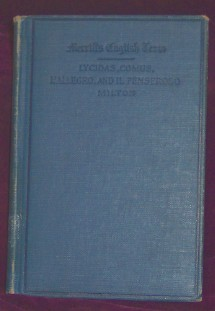 Image for Merrill's English Texts, Lycidas, Comus, L'Allegro, Il Penseroso and Other Poems by John Milton